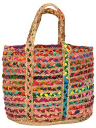10 Jute Tote Bags with Cotton Recycled Rags Lot B2J