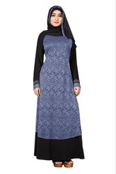Women's Lace Work Lycra Abaya Burqa with Chiffon Hijab