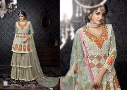 Fox Georgette Embroidered Palazzo Salwar Kameez