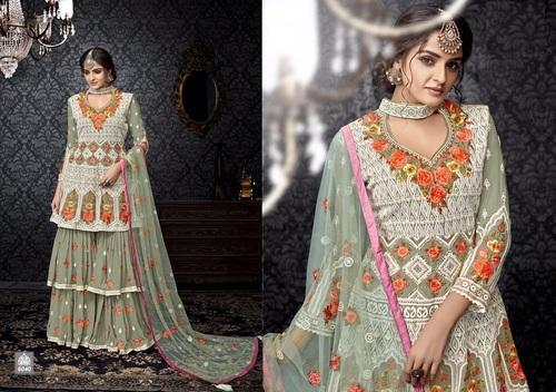 Semi-Stitched Fox Georgette Embroidered Palazzo Salwar Kameez