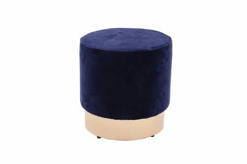 Round Ottoman Stool With Iron Leg Velvet Upholstery
