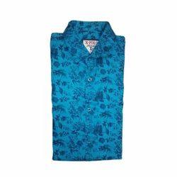 Mens X-Piko Cotton Blue Shirt, Size: M to XXL