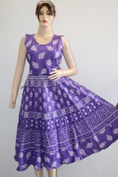 Purple Sleeveless Ladies Jaipuri Printed Frock