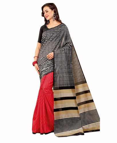 822b51f5d4 Bhagalpuri Silk Red & Black Hand Painted Saree, Rs 900 /piece | ID ...