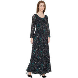 Black Printed Ladies Long Dress