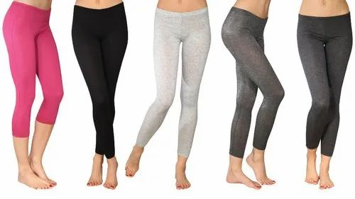 Plain Ladies Assorted Cotton Lycra Legging
