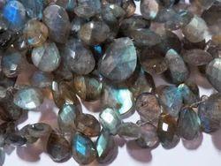 Grey Rainbow Flash Labradorite Faceted Briolette Semi Precious Stone Beads