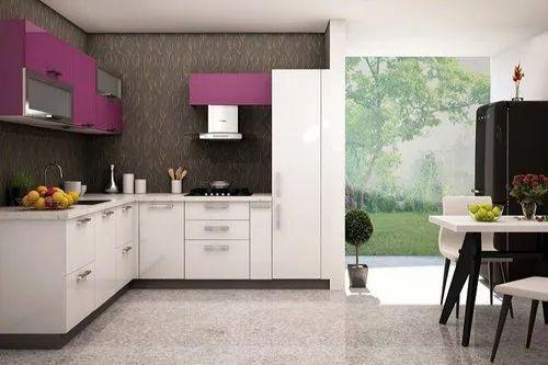 Wooden L Shape Kitchen Cupboard Interior Designing