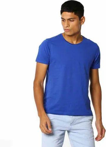 13c132cdb7 Casual Wear Royal Blue Plain Cotton T Shirt