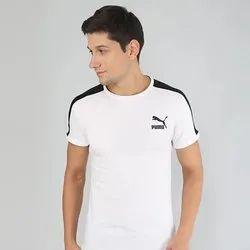 Puma White Round Neck Cotton T-Shirt, Size: Large