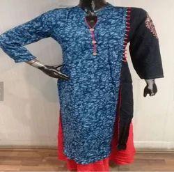 Blue Punjabi Long Kurtis With Neck Designs