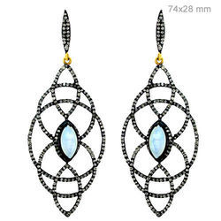 Designer Diamond Silver Earring Pair