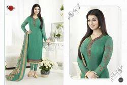 Green Designer Crepe Silky Salwar Suit Fabric