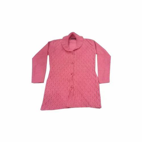 e9c6852d86 Ladies Full Sleeves Light Pink Woolen Cardigan