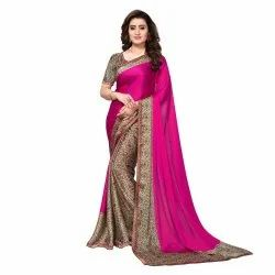 Pink & Beige Colored Satin Printed Casual Saree