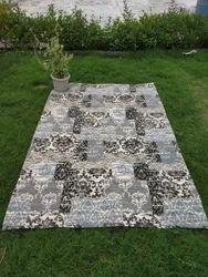 Indian Handmade Cotton Screen Print Woven Floor Rug, Indoor Area Rug