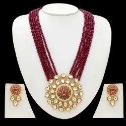 Party Golden, Deep Maroon Ladies Necklace Set