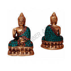 Brass Turquoise Buddha Statue