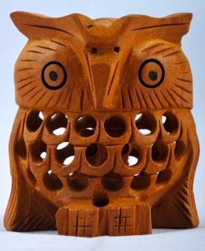 Wood carved owl size dimension: 14 inch rs 300 piece india craft