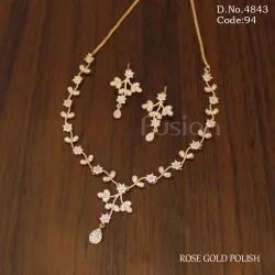 Rose Gold American Diamond Necklace Set