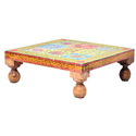Wooden Stool/Chowki With Tiles Design Home Decor