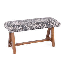 Vintage Rug Upholstered Small Outdoor Bench