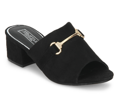 b226cf8082181 Black Microfibre Low Heel Mule Sandals at Rs 2699   Okhla Industrial ...