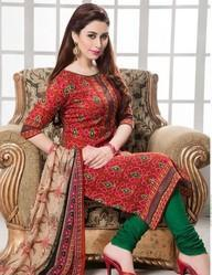 Ladies Red Printed Suit