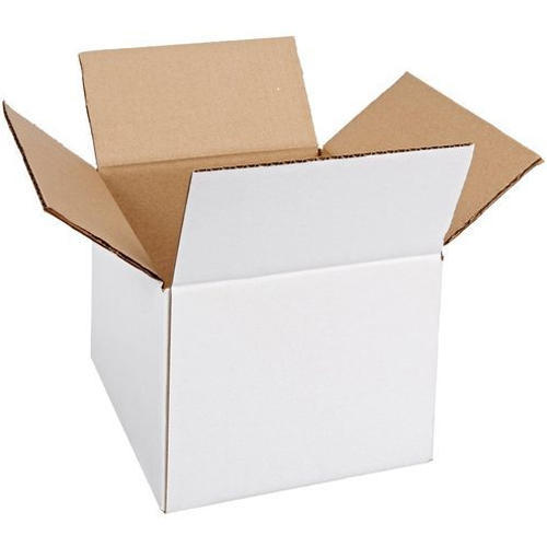Cardboard Paper Rectangular Corrugated Box White Duplex Printed