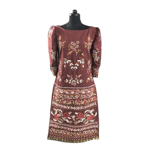 Silk Maroon Ladies Party Wear Designer Suit