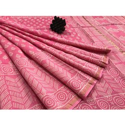 Pink Chanderi Saree with Blouse
