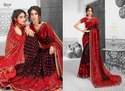 Plain Fancy Ethnic Red Party Wear Sarees with Blouse Piece