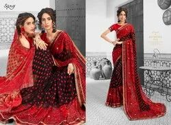 Fancy Ethnic Red Party Wear Sarees
