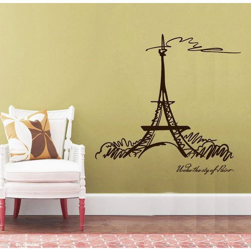 11ff1c2f31d Polyvinyl Decal Artistic Sketch Of Eiffel Tower Printed Wall Sticker ...