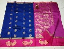 Blue With Pink Border Zari Kuppatam Silk Sarees, 6.3 M (with Blouse Piece)