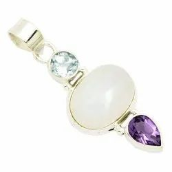 92.5 Rainbow Moonstone with B.T and Amethyst Pendant