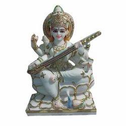Painted Marble Saraswati Statue