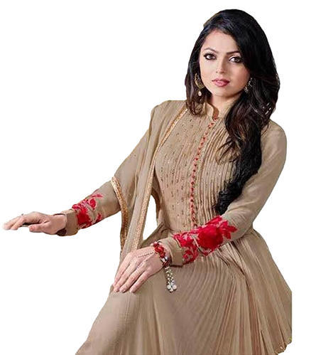 fc864dc9dff Semi-Stitched Light Beige Occasion Party Wear Gown Style Anarkali Suits  Dress Material