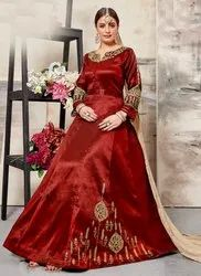 Red Party Wear Designer Abaya Style Anarkali Suits