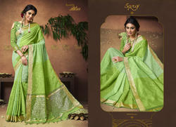 Fancy  Party  Green  wear  Sarees
