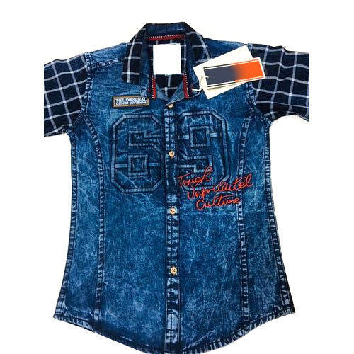 7838044a1c Dark Blue Kids Boy Festive Wear Denim Shirt