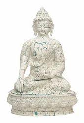 Resin & Marble Dust Sitting Buddha Idol Statue Showpiece for Home Decor