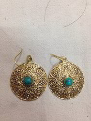 Brass Round Stone Earring