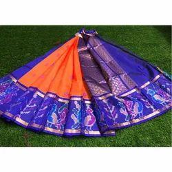 Orange And Blue Festive Wear Festive Kuppadam Saree, 5.5 M (separate Blouse Piece)