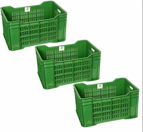 Rectangular Solid Box Swift International Green Plastic Storage Container Crate, Size: 21x14x11 Inches, Model Number: Na