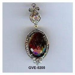 925 Silver Sapphire Stone Real Diamond Earring