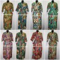Women's Frida Kahlo Printed Long Kimono Cotton Bath Robe Dress Multi
