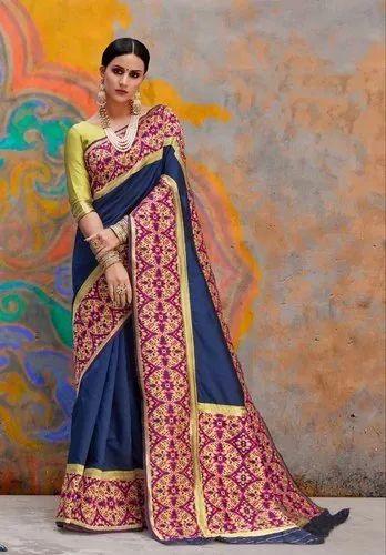Navy Blue Party Wear Border Designed Banarasi Silk Saree, With Blouse Piece
