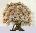 Iron Wall Decor Tree, Iron Brown And Gold Indian Tree With LED Lights Showpiece