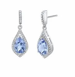 925 Tanzanite Tear Drop Silver Dangle Earrings